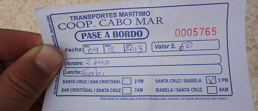 Ticket of Fast Boat from Puerto Ayora to San Cristobal Island