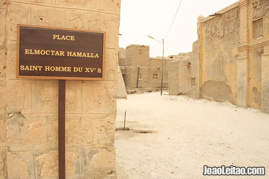 El Mokhtar Hamalla Square sign in Timbuktu