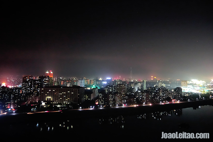 The upper view of Pyongyang by night is amazing.