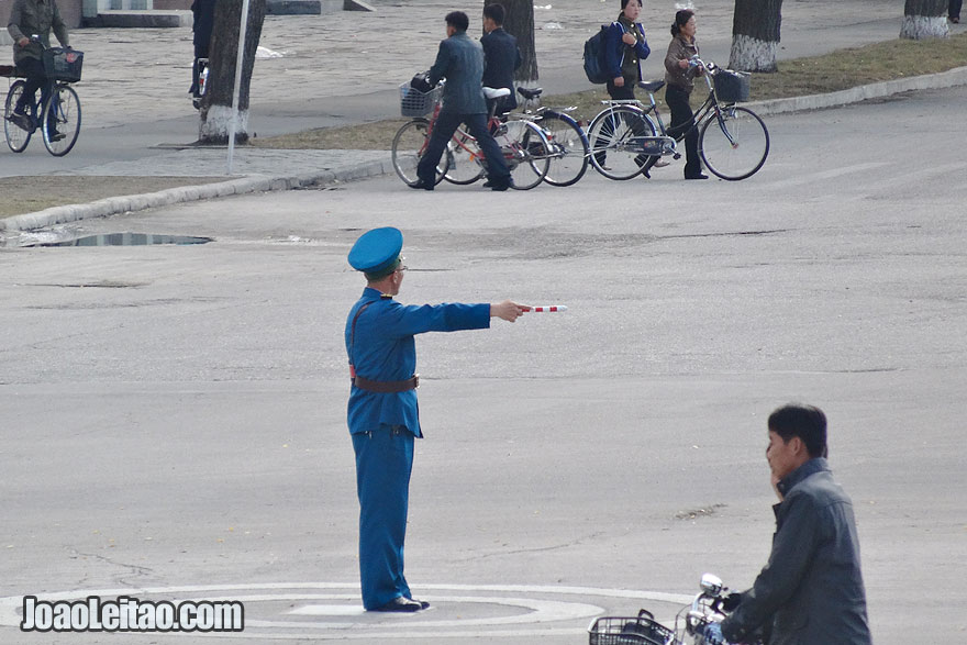 Traffic Police in North Korea are always very active and maintain road order.