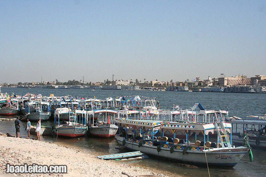 Boats anchored on the shore of the West Bank of Luxor