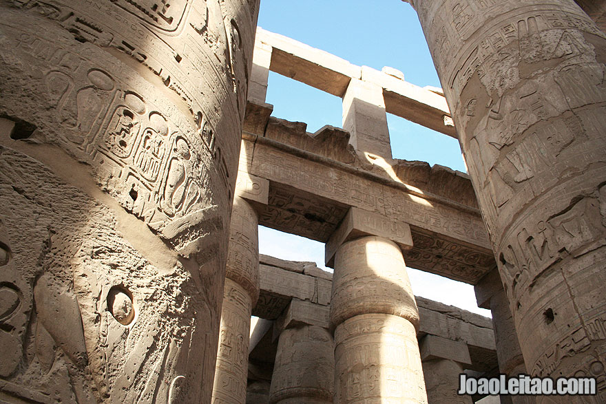 Decorated stone columns  with hieroglyphs at the Karnak temple