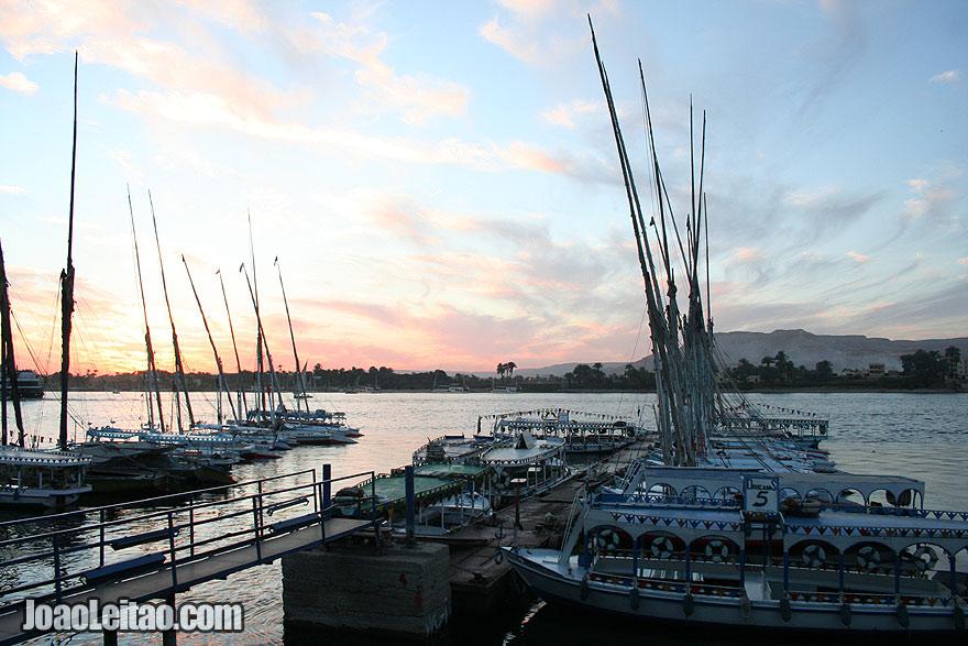 Felucca boats in Luxor harbor