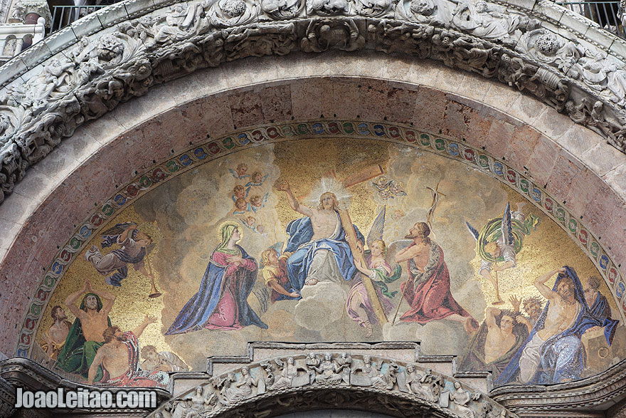 Main portal mosaic from st. Mark cathedral with Jesus, Mary and st. John the Baptist