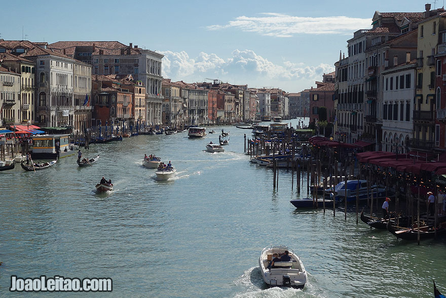 View of the Grand Canal from the top of the Rialto Bridge