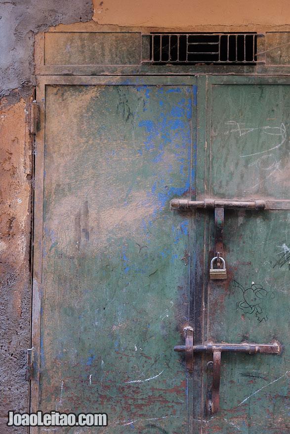 Door lock detail in Marrakesh Medina