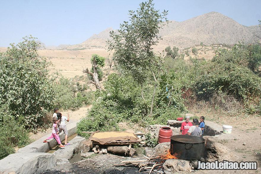 Bulgur preparation in Kani village, Iraq