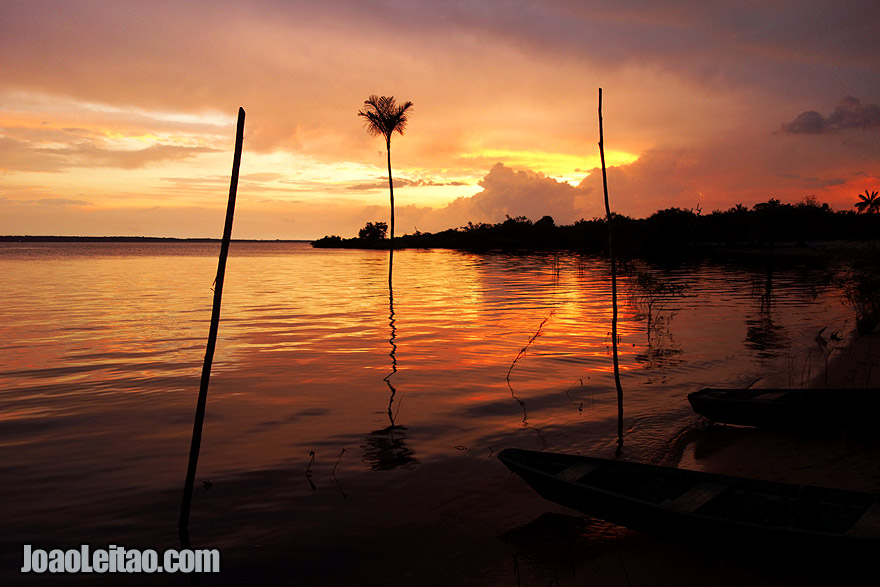 Sunset over Rio Negro in the Amazon