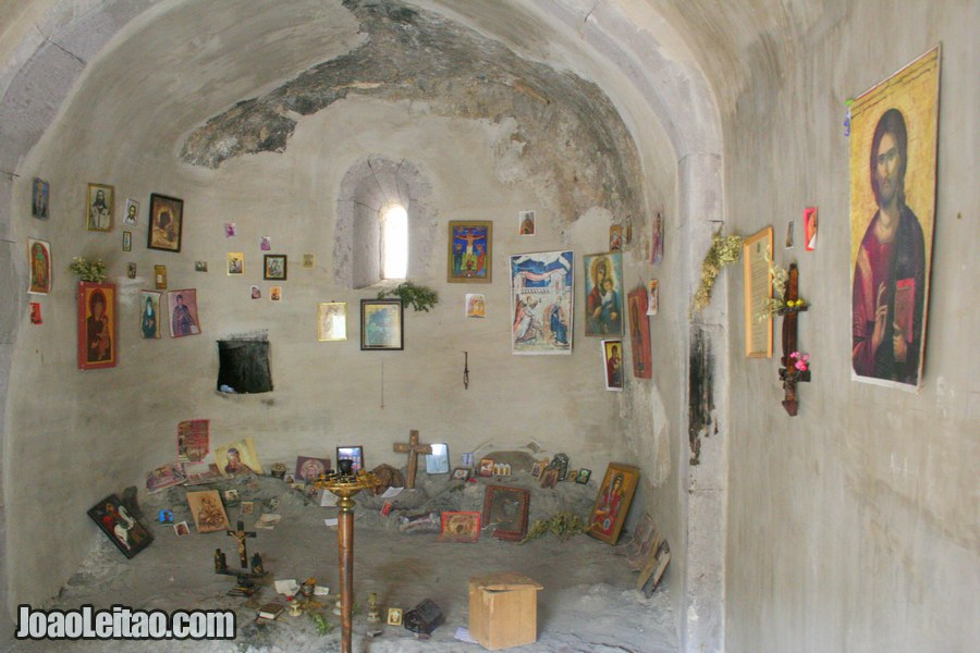 Inside the 10th century church, Khertvisi Fortress in Georgia