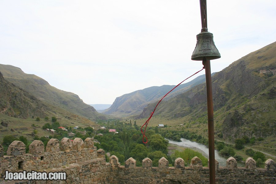 Church bell and view over the valley, Khertvisi Fortress in Georgia