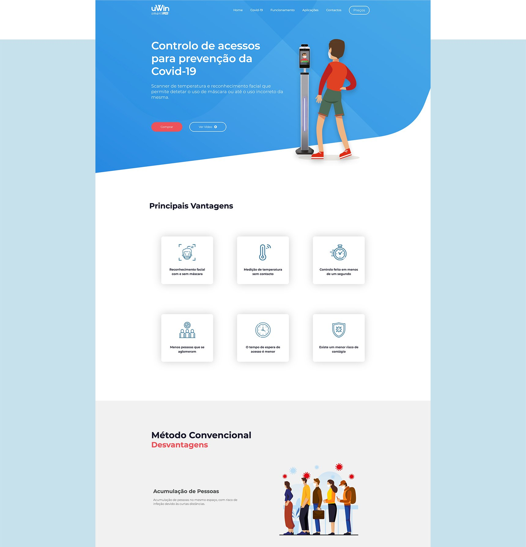 Landing page and Online Shop - SmartPass by uWin | João Santos - Webdesigner