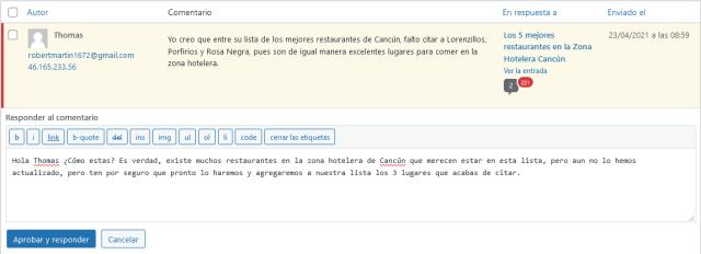 editando comentarios de wordpress