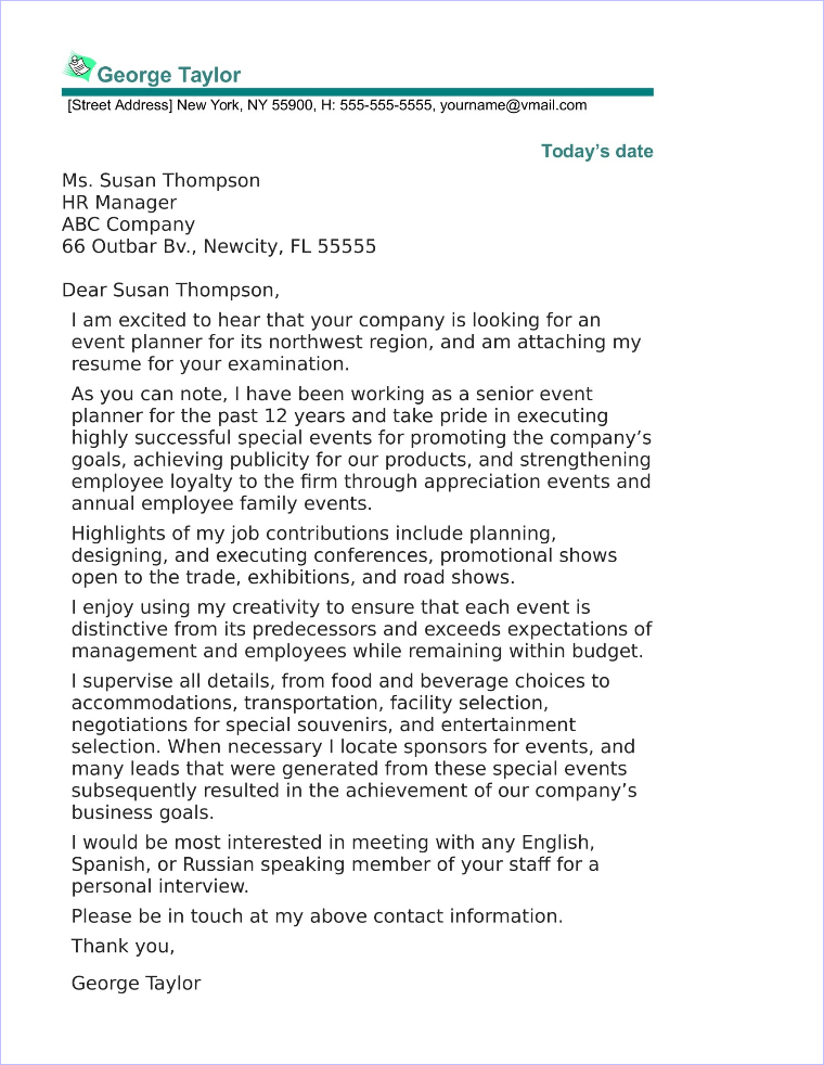 cover letter for manager