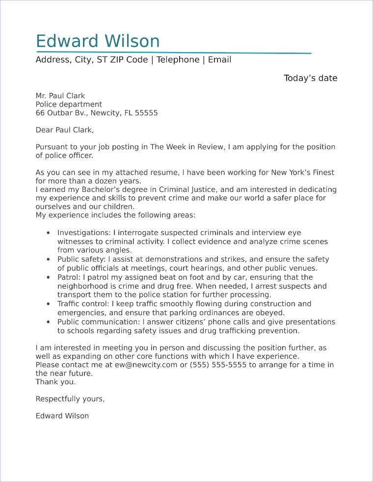 Police Officer Cover Letter Sample