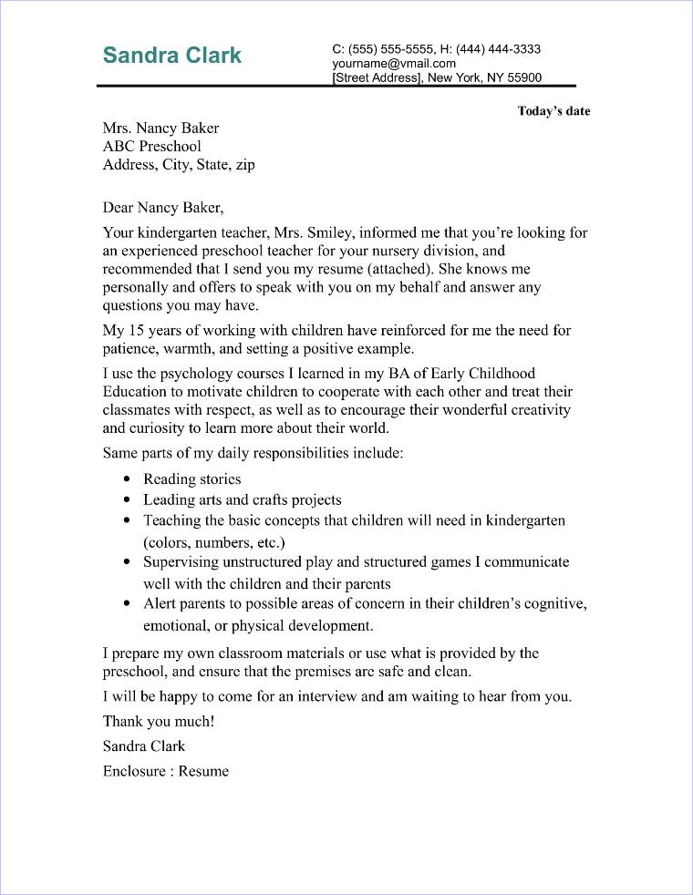 Preschool Teacher Cover Letter Sample