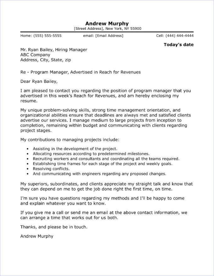 Sample Cover Letter For Information Technology Manager Job Save