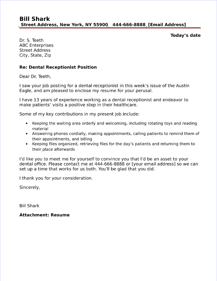 Dental Receptionist Cover Letter Sample