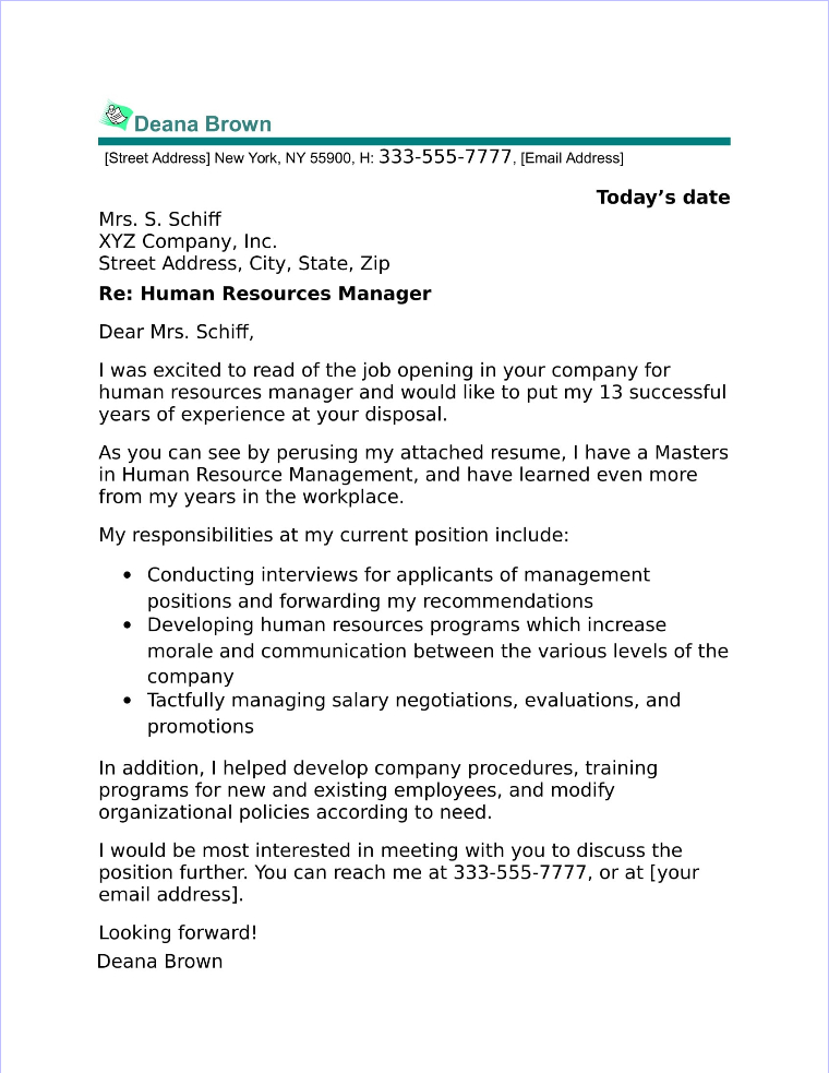 Cover Letter Human Resource