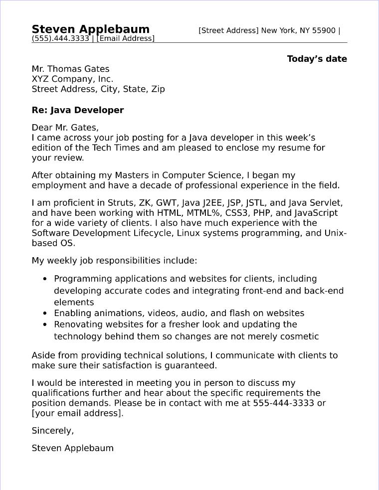 developer cover letter examples