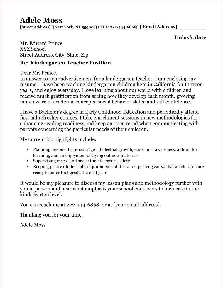 School Counselor Cover Letter Sample