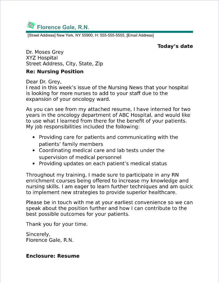 nurse cover letter