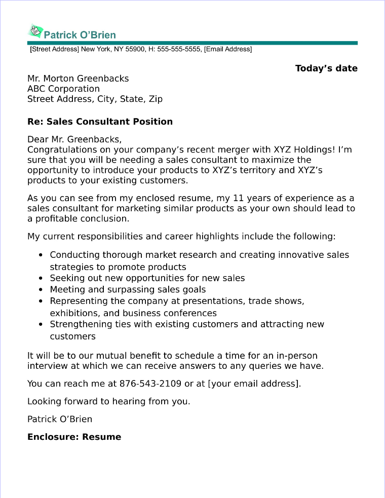Marketing And Sales Cover Letter
