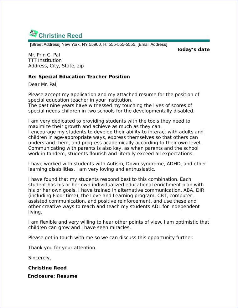 special education teacher cover letter