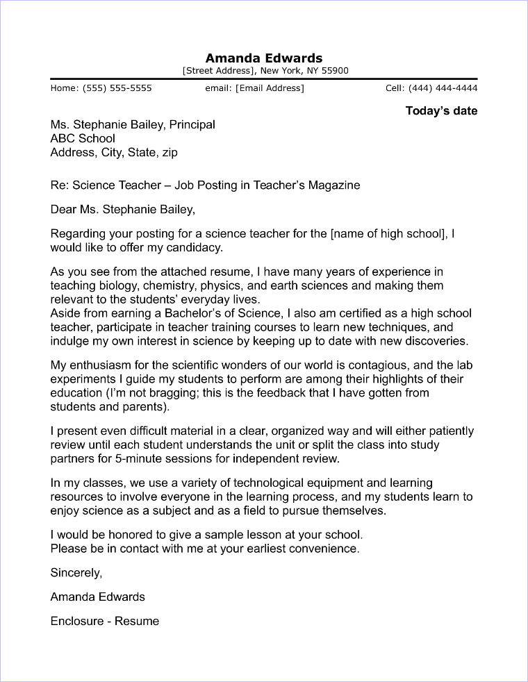 English Teacher Cover Letter Sample