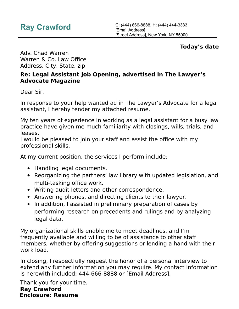 attorney cover letters