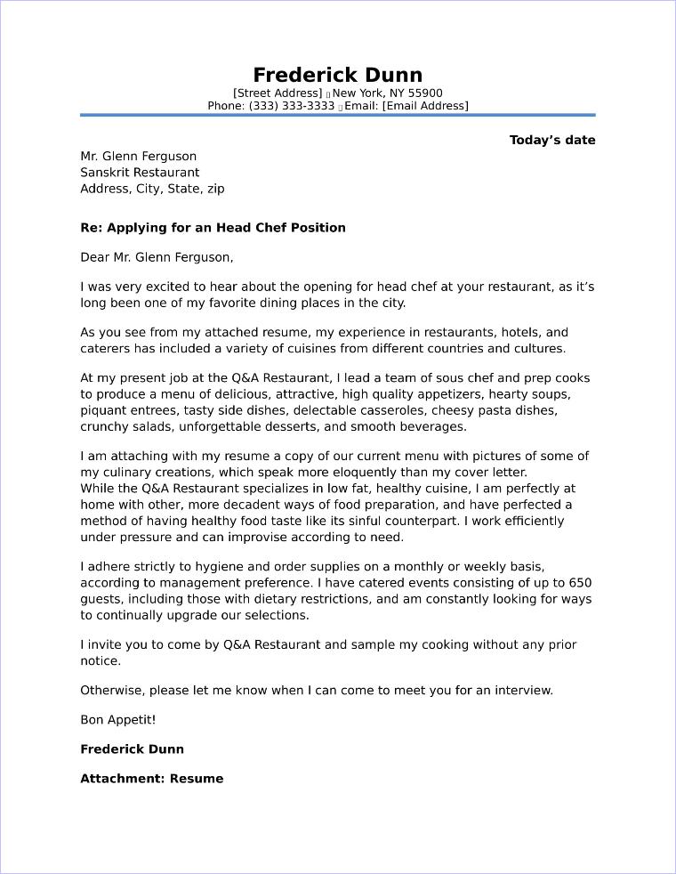 sample chef resume cover letter