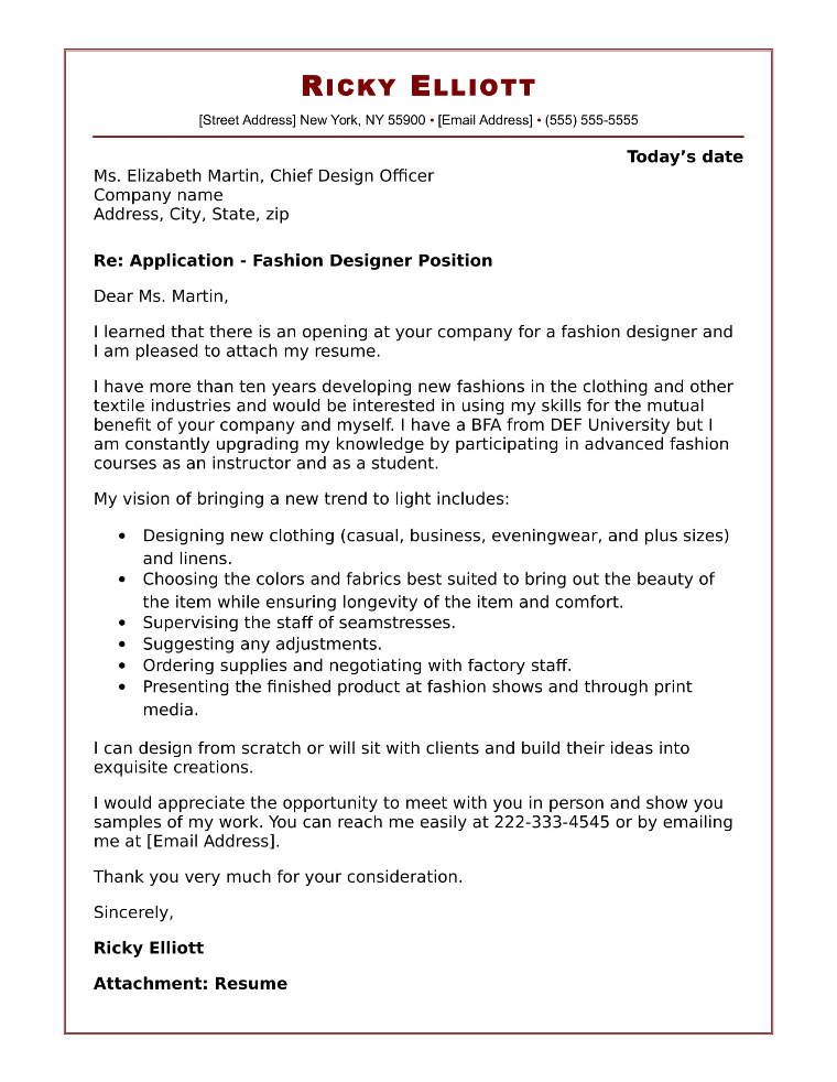 Cover Letter Fashion Resume Templates