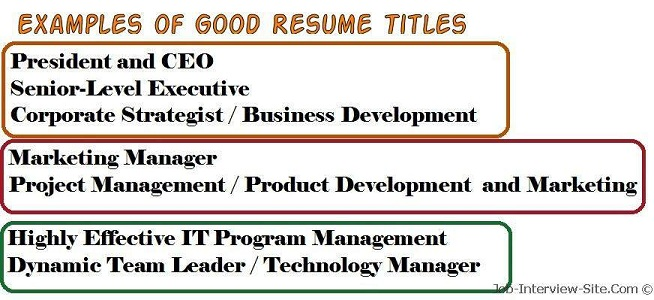 Resume Names Examples Sample Resume Title Resume Title Examples