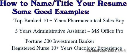 Resume Name What To Name Your Resume