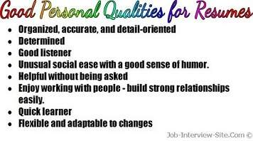 Good Personal Qualities List Of Personal Qualities For Resumes