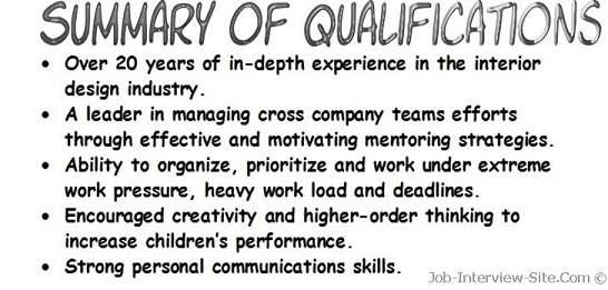 skill summary resume