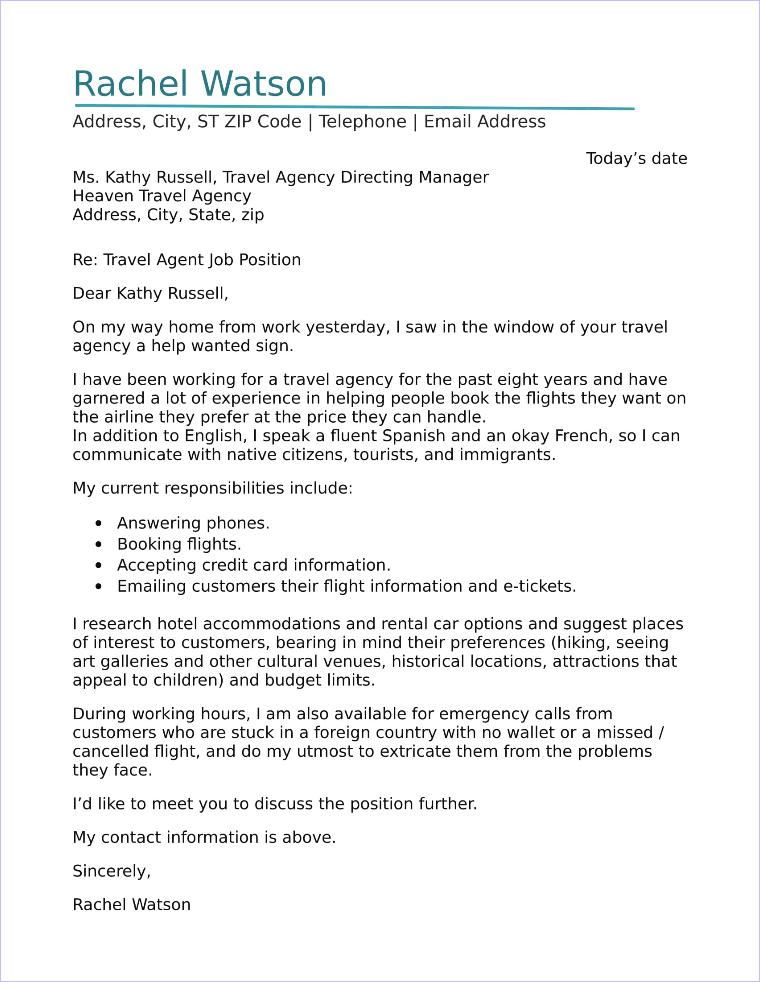 travel agent cover letter sample