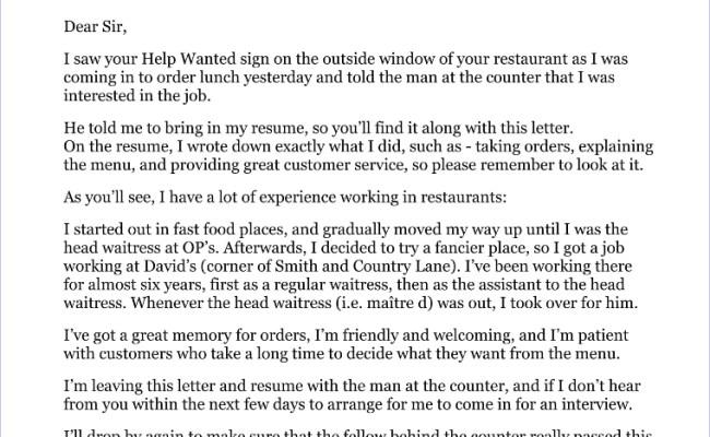 Application Letter For Restaurant Job Cute766
