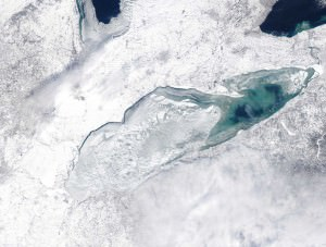 Cool picture of  the ice on Lake Erie and Lake St Clair 1-15-15