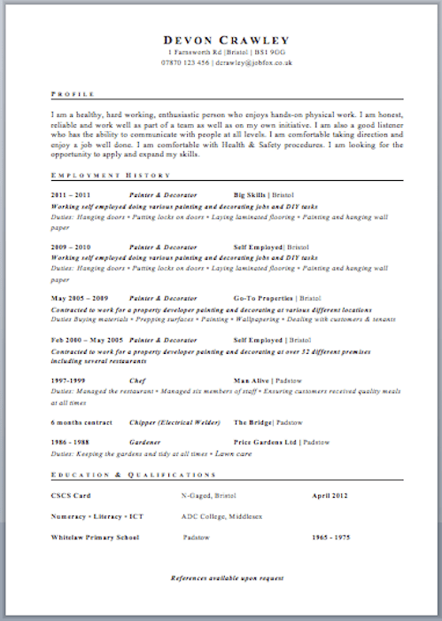 Uk Resume Format Resume Format Uk Curriculum Vitae Format For Uk