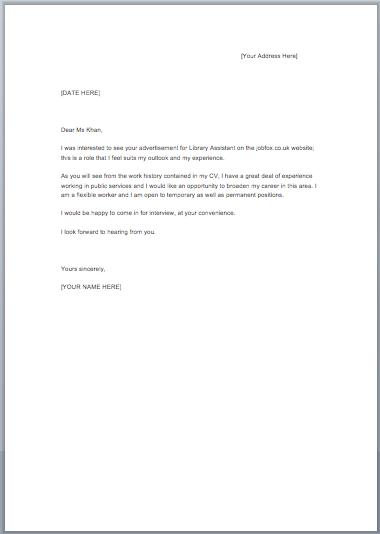 Job Cover Letter Sample For Resume