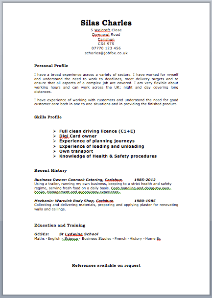 Driver-CV-jobfox.co_.uk_ Job Application Form Simple Layout on big lots, free generic, blank generic, sonic printable, part time,