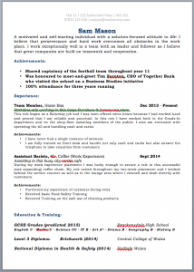 School Leaver's CV JobFox UK