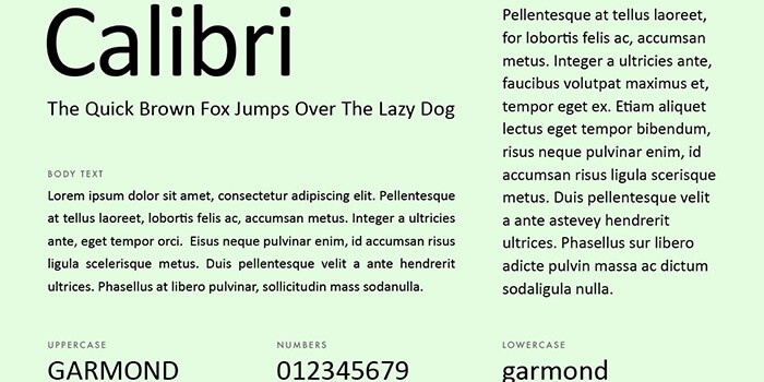 calibri font for modern resume
