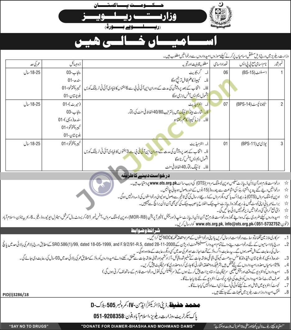 14 latest Jobs in Ministry Of Railways by OTS in Islamabad