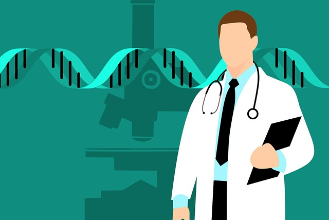 Doctor with uniform and DNA sign
