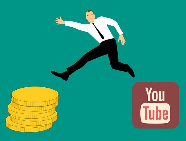 Men jumping Youtube to money