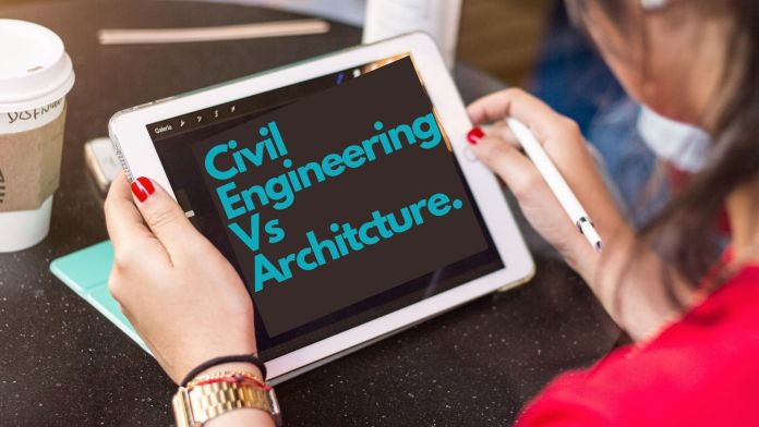 Girl hold white note paid with open pages of civil engineering vs architecture page.