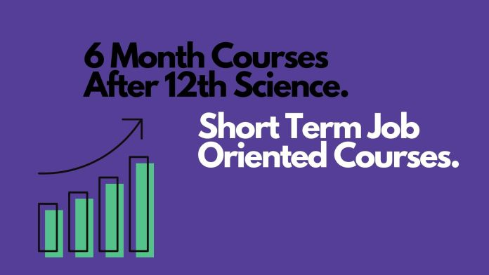 Blue background with black text 6 month courses after 12th science along with success graph