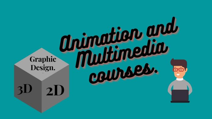 Light blue colour in background with black text animation and multimedia courses along with gray box and man with laptop