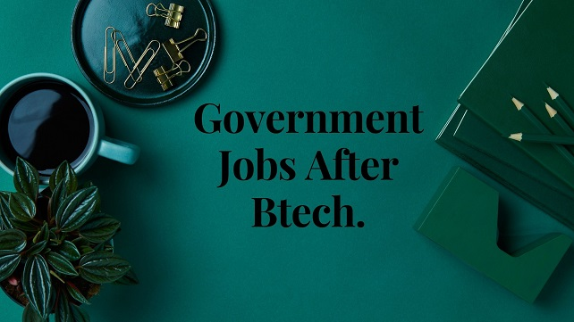 Light green background with black text words government jobs after btech
